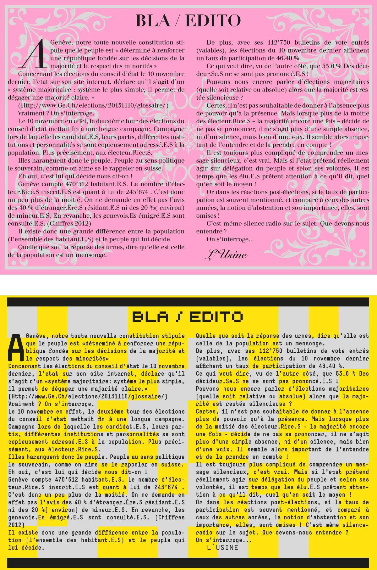 Journal Vox Usini – Bla / édito