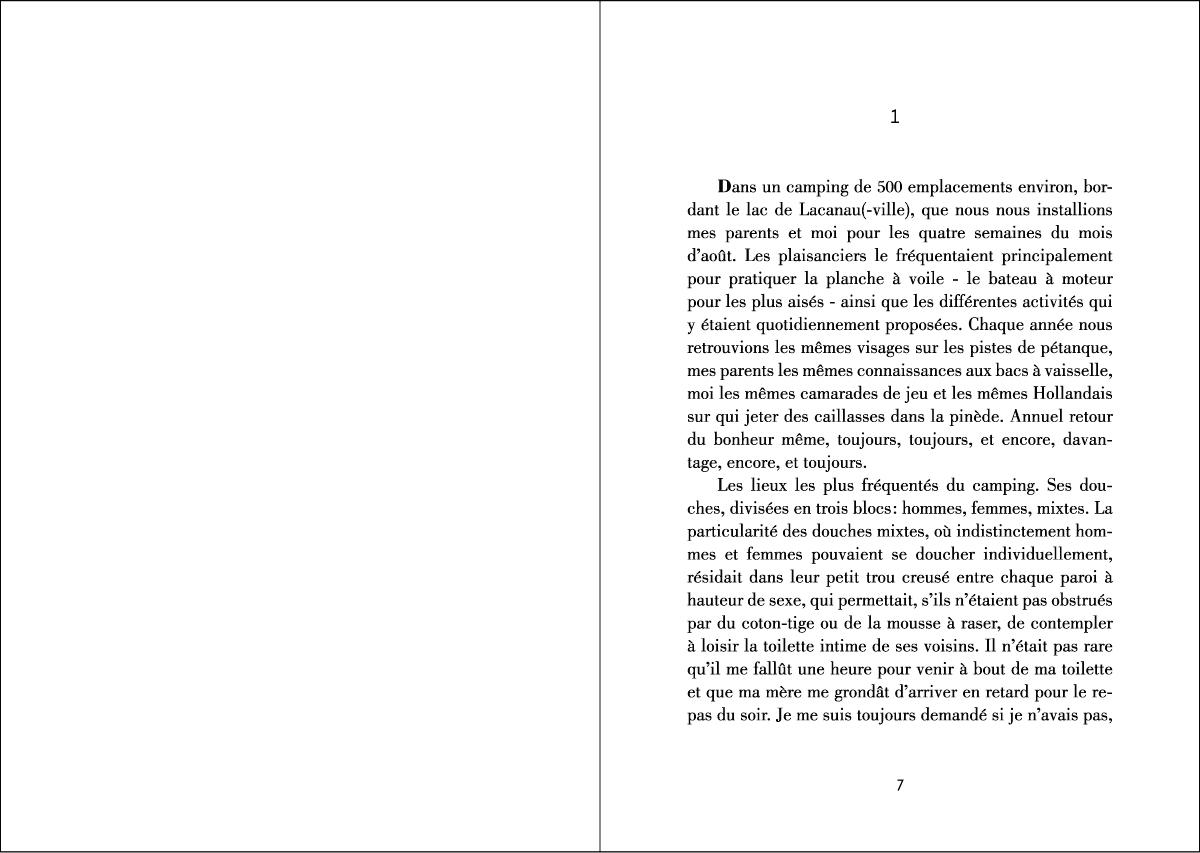 Editions Courts Lettrages – Double page intérieure