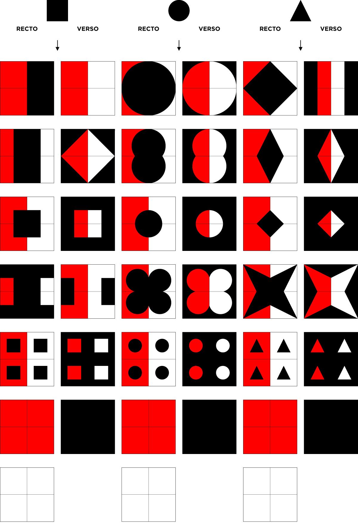 Gregram – Répartition des couleurs et formation des trois jeux: carré, cercle, triangle (le Gregram)