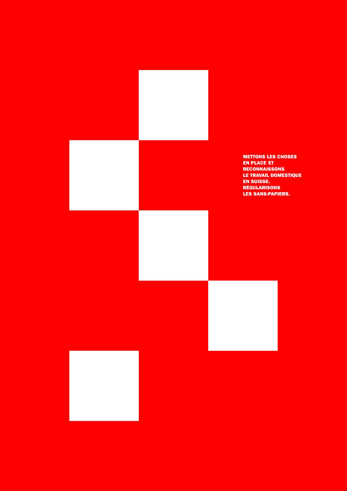 Affiche pour la régularisation des travailleurs domestiques sans papiers en Suisse (variante 2)