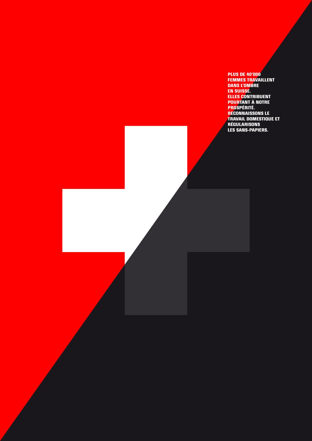 Affiche pour la régularisation des travailleurs domestiques sans papiers en Suisse (variante 1)