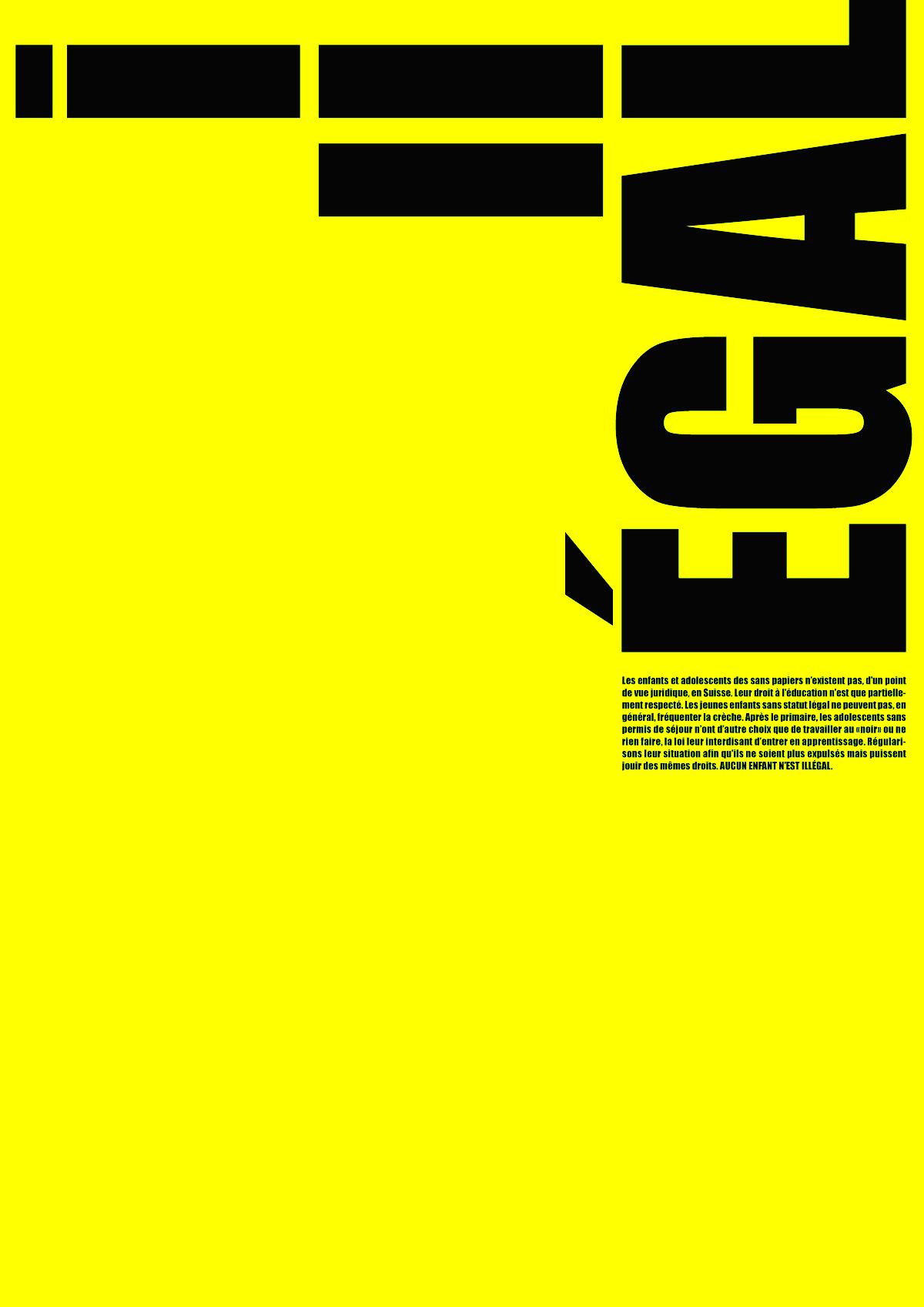 Affiche pour la scolarisation des enfants de sans-papiers en Suisse